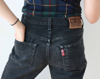 Vintage Ralph Lauren high waisted jeans | vintage black jeans | black denim jeans | ankle zip capris jeans | 90s fashion | 90s clothes
