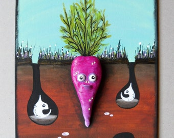 Mixed Media Painting - Polymer Clay On Canvas - 3D Wall Art - Acrylic Painting - Polymer Clay Carrot Figurine - Original Painting - OOAK