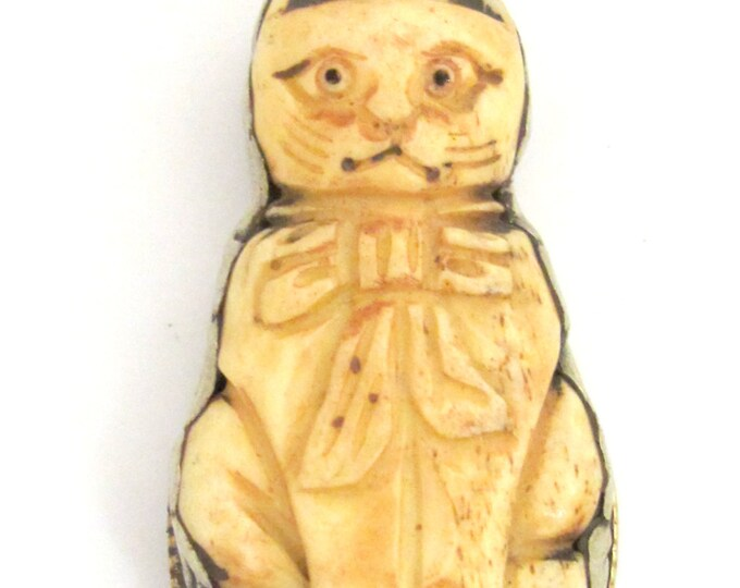 Tibetan silver carved bone Cat pendant with reverse side floral carving repousse - PM345G