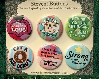 Steven Universe Pinback Button Set - pins badges quotes love garnet fish stew pizza insane peridot big donut earth strong pearl crystal gems