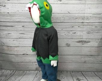 Zombie Fleece Toddler Costume, Zombie Child Costume, Zombie Toddler Outfit, Toddler Halloween, Zombie Kids Costume, Zombie Halloween Costume