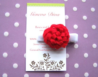 Red Mum Felt Flower Hairclip...Perfect for Valentine's Day