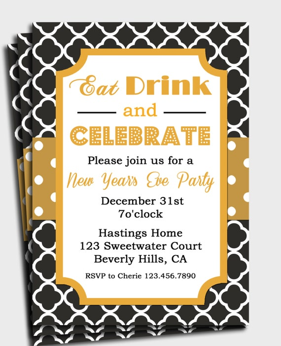 Black and Gold Invitation Printable or Printed with FREE