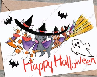 Halloween Greeting Card 02/Hand Painted Watercolor Art/Cat/Instant Download/PDF Printable