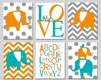 Elephant Nursery Art - Set of Six 11x14 Prints - Polka Dot Elephant, LOVE, Chevron Elephant, Modern Alphabet, Elephant Bird Stack