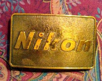 Rare Vintage Nikon Brass Belt Buckle