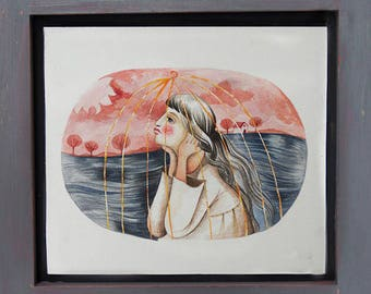 Waiting - Original Watercolor Painting Artwork with wooden frame