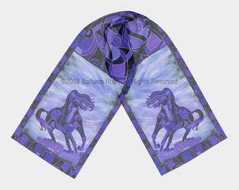 Black Horse Scarf, Purple Horse Scarf,  Colorful Horse Scarf, Black Andalusian Horse Scarf, Friesian Scarf