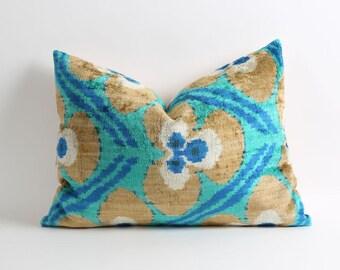 ikat velvet pillow, ikat pillow cover, velvet pillow, 16x20 green blue tan brown decorative pillow cover, handwoven ikat pillow