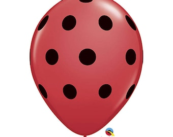 "11"" Red Ladybug Polka Dot Balloons: Wedding, Shower, Birthday, Baby,  Sports, First Birthday, Summer, Watermelon, One, Graduation, Picnic"