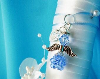 Something Blue Wedding Bouquet Charm Swarovski Crystal Angel Bridal Bouquet Charm