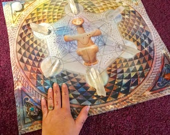 Sacred Geometry Goddess - Tarot Spread/Crystal Grid/ALTAR CLOTH
