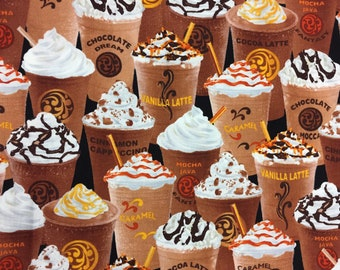 Frozen Latte/Cappucino/Espresso/Coffee - Quilting Cotton; [[by the half yard]]