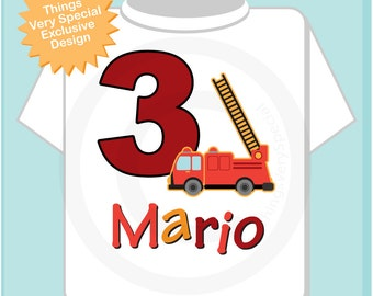 Third Birthday Outfit, Fire Truck Shirt, Personalized 3 year old Fireman, 3rd Birthday Fire truck Shirt with childs name and age (08222012a)