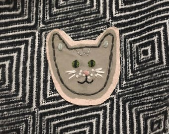 Custom Embroidered Kitty Face Patch!