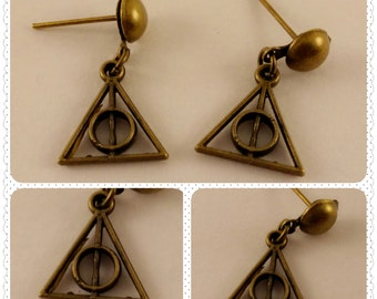 Small Deathly Hallows Post Earrings