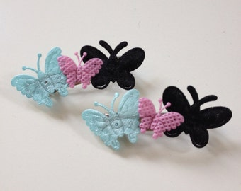 Two butterfly hair clips
