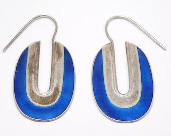 Ornate Cobalt Cloisonne Enamel Silver Earrings