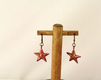 Copper Starfish Earrings. Listing 111165389