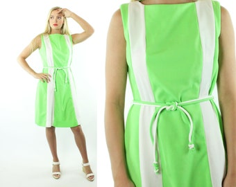 70s Color Block Dress Sleeveless Lime Green White Striped Knit Vintage 1970s Large L X-large XL Mod Space Age Centimo