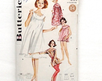 Vintage 60's Misses' Butterick Lingerie Coordinates Pattern #2198 - Size 14 (Bust 34) - Nightgown - Brunch Coat - Smock Top w/Pants