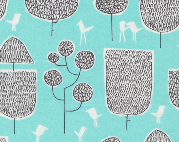 Organic Cotton Fabric - Cloud9 Fabrics Yoyogi Park - Tokyo Trees Turquoise