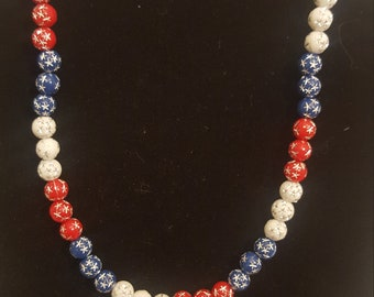Independence Day, 4th of July; Red, White, and Blue Beaded Necklace with Matching Pierced Earrings