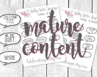 Sassy Planner Stickers - Hand Drawn Planner Stickers - Salty Sadie Sayings: Vol 2 - Erin Condren Planner Stickers -  Happy Planner Stickers