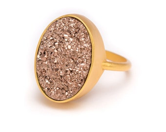 Rose Gold Druzy Ring - Gold Ring - Druzy in Gold Ring - Druzy / Drusy Quartz - Available in Sizes 5, 6, 7 and 8