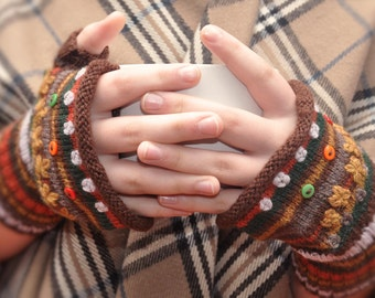 DIY Knit Rolled Edge Fingerless Mitts Gloves Earth colors - PDF pattern download only