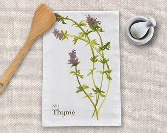 Thyme Herb Tea Towel, Flour Sack Kitchen Towel, Modern Farmhouse Kitchen Tea Towel, Hostess Kitchen Gift For Mom, Dish Towel Kitchen Decor