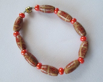 Wooden and Orange Glass Beaded Bracelet