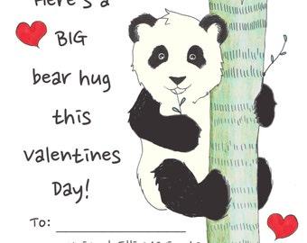Kids Printable Valentines, Childrens Classroom Valentines, Panda Valentine, Panda Bear Valentine, Handmade Original, Valentine's Day Cards