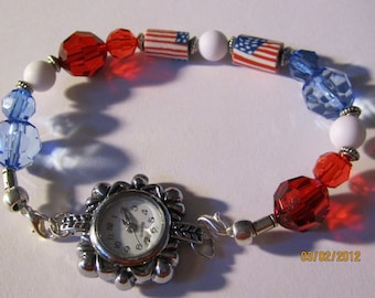 Interchangeable Beaded Watch Band or Medical ID Tag Bracelet...Red,White & Blue...  BONUS...Free Watch ...read