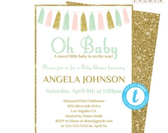 Baby Shower Invitation Template, Pink Mint Gold Baby Shower Invitation, Girl Baby Shower, Printable Invite, Oh Baby Shower Invitation TASPMG