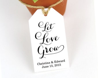 Let Love Grow Tags - Wedding Favor Tags - Succulent Favors - Plant Favors - Seed Favor Tags - Custom Tags - Personalized Tags - MEDIUM Size