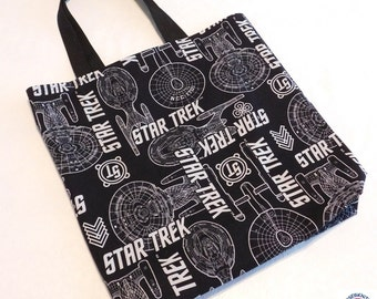 Large Star Trek Reusable Totes Bag, Grocery Bag, Beach Bag, Washable, Sturdy