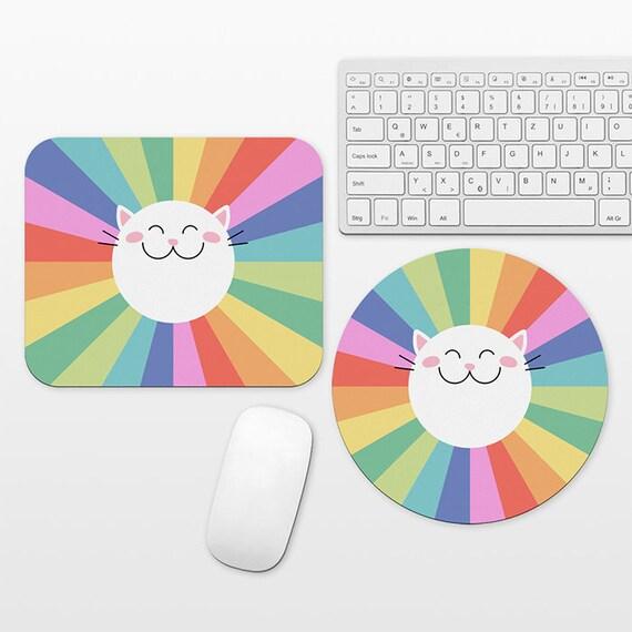 Happy Cat Mouse Pad Rainbow Mousepad Colorful Mouse Pad Cute Mouse Mat Round Rectangular Cubicle Decor Desk Office Decor for Women Men Kids