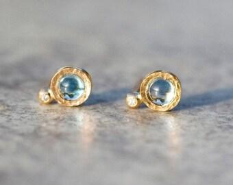 Blue topaz  earrings,  14k gold topaz earrings, stud earrings, November Birthstone, diamond earrings