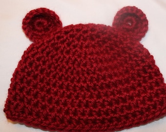 Crochet Baby Bear Hat 0-3 Months Great Baby Shower Gift