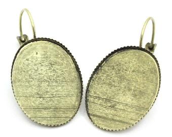 set of 10 blank earring brass cabochon 13 x 18 mm