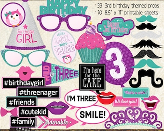 Photo Booth Props, HAPPY 3RD BIRTHDAY, girl, printable sheets, instant download, diy, party planning, purple, pink, teal, turquoise