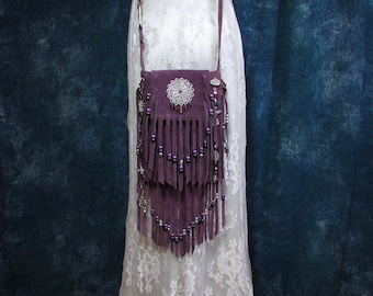 Boho Fringe Purse Suede Leather Fringe Bag Gypsy Hippie Fringe Small Plum Suede Crossbody Bag Cell Phone Purse Pursuation InFaith Handmade