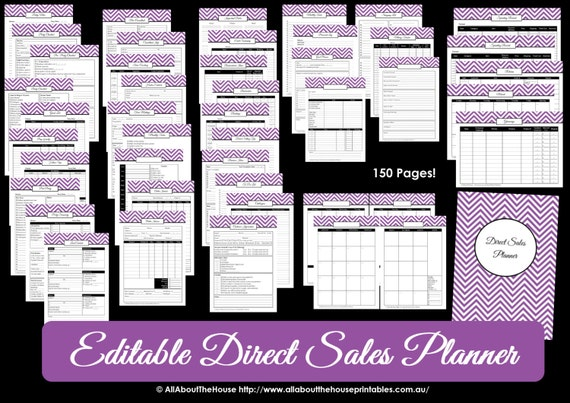 Direct Sales Planner PURPLE Editable Business Planner