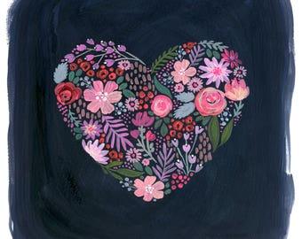 Herz-A-flattern-, drucken, Gouache-Malerei, Herz-Malerei, Mädchen, Kinderzimmer Kunst Blumenkunst