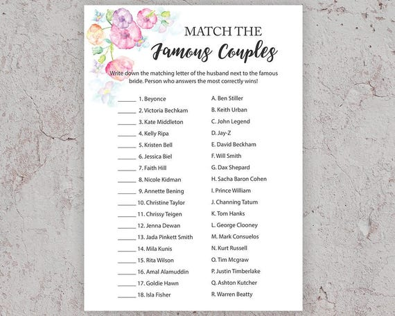 Party games celebrity couples