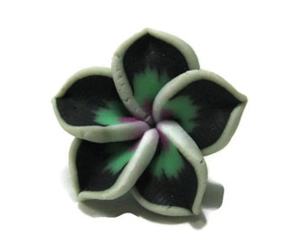 21mm Black and Green Polymer Clay Plumeria Flower Beads set of 4 (P10)