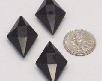 12 Black Vintage Lucite Pendants