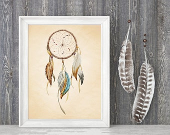 Watercolor Dreamcatcher Art Print. Boho Decor. Native American Art. Southwest Art. Tribal Art. Tribal Dreamcatcher. Tribal Feathers. S461