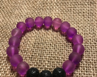 Purple Polymer Bead Essential Oil Diffuser Bracelet
